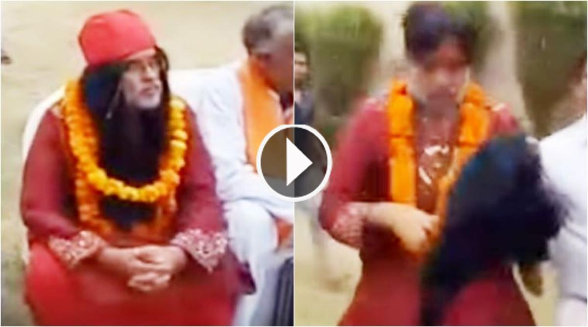 Swami Om gets beaten up so badly at Delhi event that his wig comes off