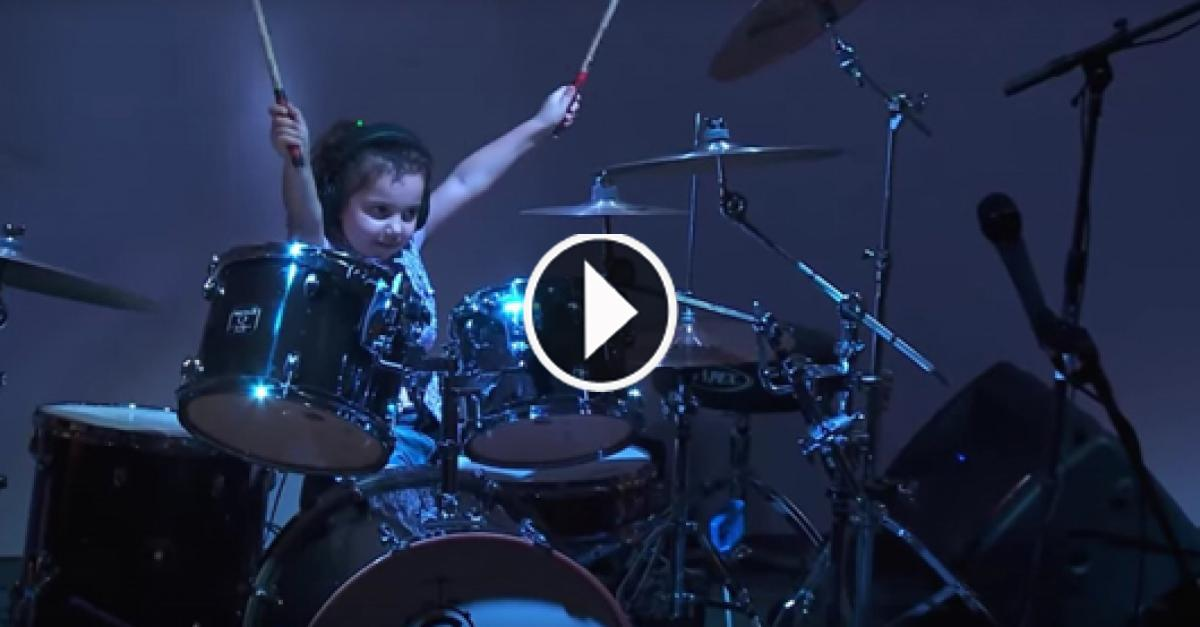 Only Five Years Old Baby Plays Drum Like An Expert Drum Player.Amazing!!...