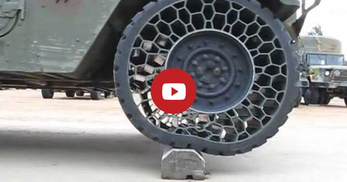 Take A Quick Look At The Super Marvelous Airless Tires That Military Invents First Ever.