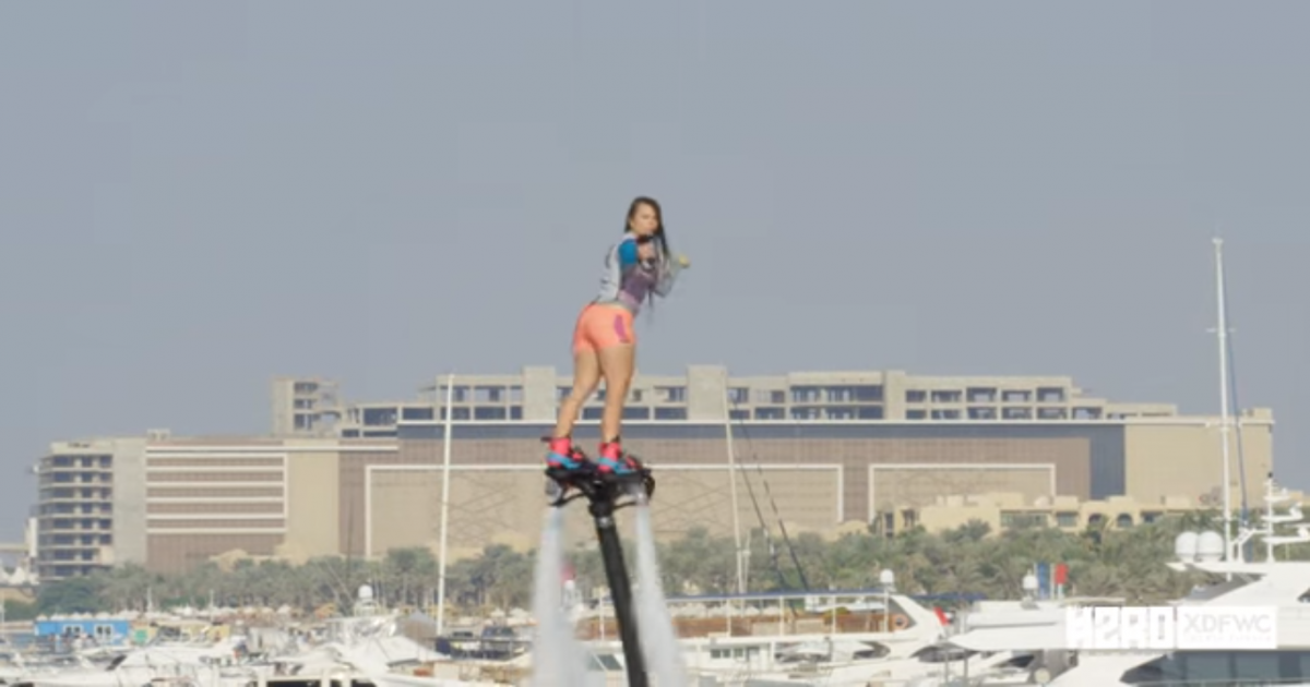 Unbelievable Performance Of The Female Fly-board World Champion Who Flips Several Times In The Air.