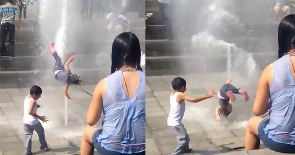 Little Girl Is Blasted Into Air After Stepping On Fountain In Mexico.