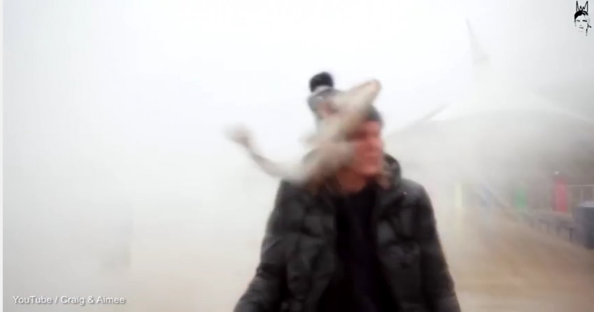 Lady Weather Reporter Gets Knocked Out By A Huge Flying Fish During Fierce Storm.