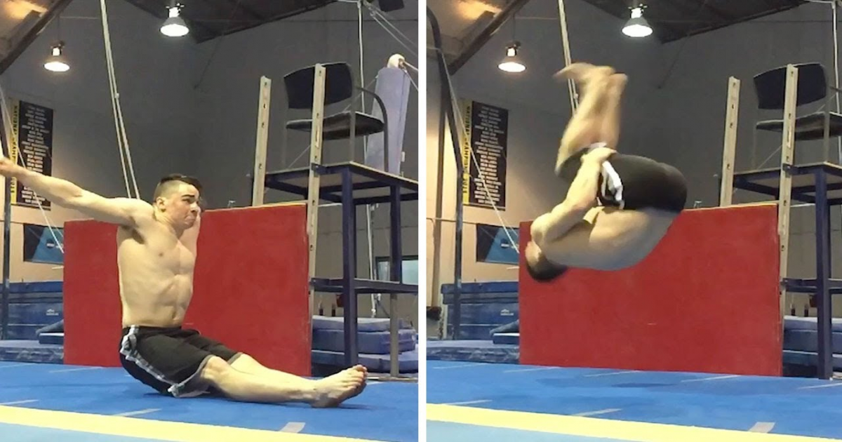Gymnast Performs No-Hand Seated Backflip That Is Almost Impossible Without Superhuman Power.