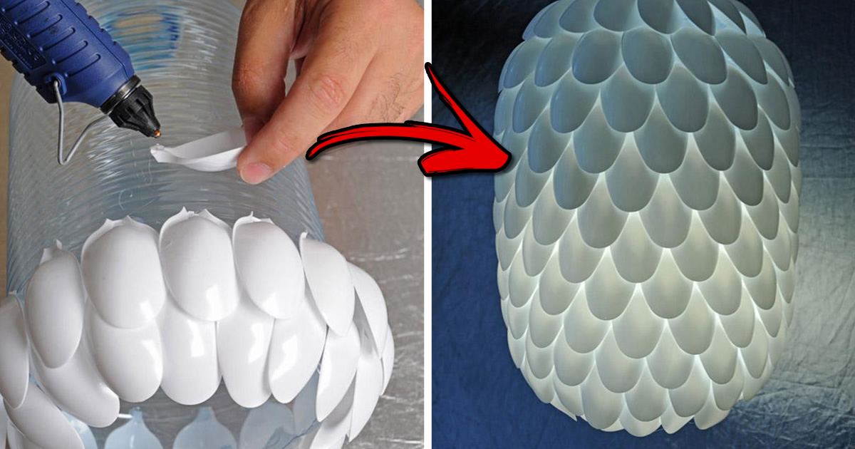 Beautiful Girl Uses Plastic Spoons And An Electric Bulb To Make Something Beautiful.