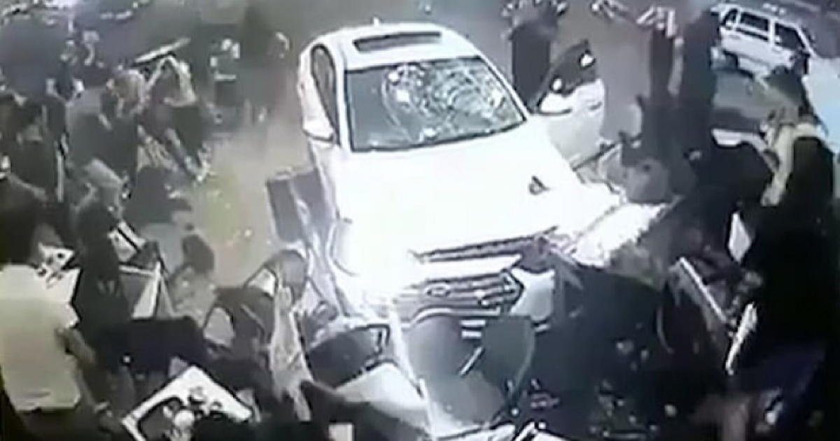 White Car Crashed Into Packed Seating Area Outside A Starbucks In Turkey.